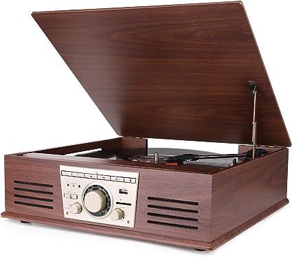 D&L Reproductor de Discos de Vinilo, Madera, 6 en 1, Bluetooth ...