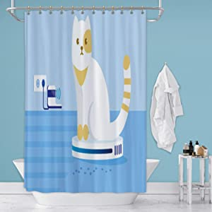 Hitecera Cat Driving or Riding Automatic Cleaner in Room.Stock Illustration Gulf Coast States,Shower Curtain Hoover - Alabama for Bathroom 36 in by 72 in (WxH)
