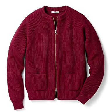 Sloane Wool Rib Full-Zip Crewneck Sweater SL2W-015: Bordeaux