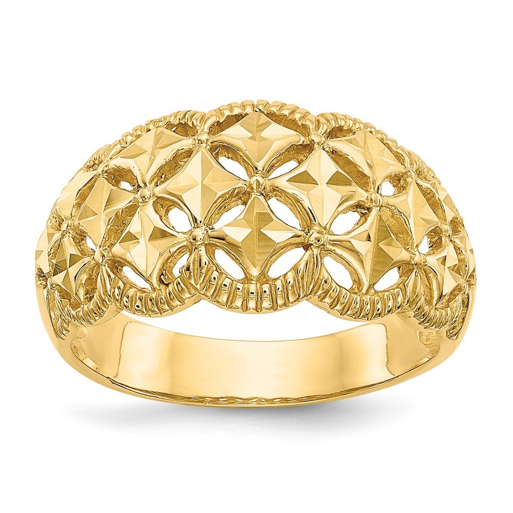 FB Jewels Solid 14K Yellow Gold Diamond-Cut Scalloped Edge Pattern Dome Ring Size 6 by FB Jewels