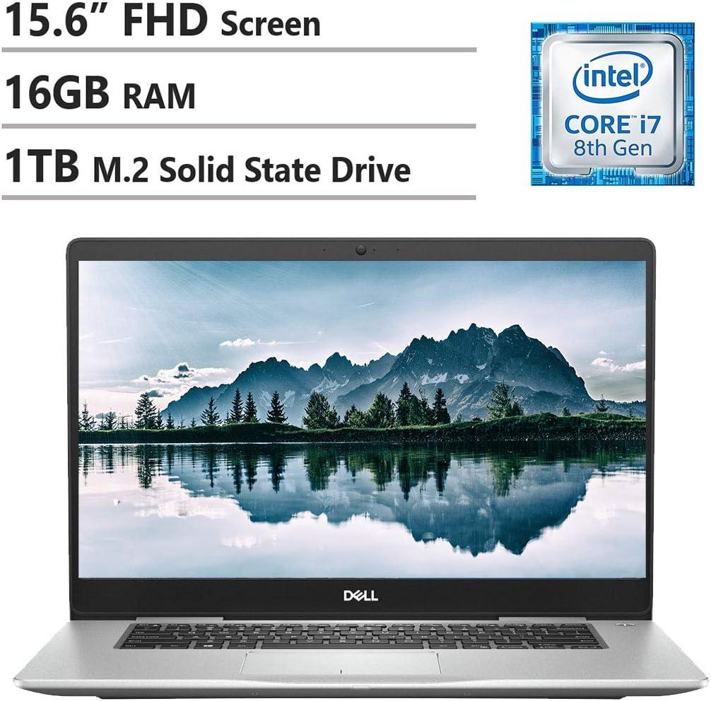 "Dell Inspiron 7000 Laptop, 15.6"" FHD LED Display, Intel I7-8550U, 16GB Ram, 1TB M.2 SSD, NVIDIA GeForce 940MX, Wireless-Ac, Backlit Keyboard, Waves MaxxAudio Pro, Win10 Home, Silver"