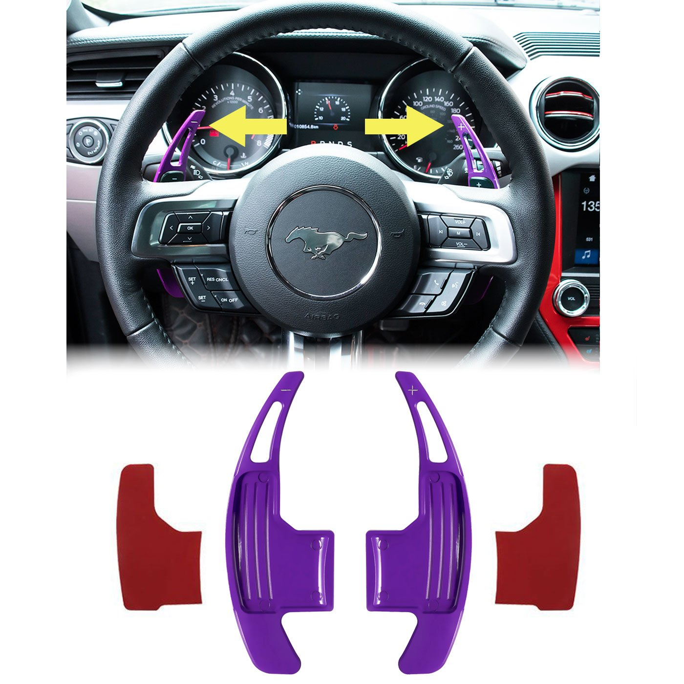E-cowlboy Aluminum Steering Paddle Shifter Extension for Ford Mustang 2015 2016 2017 2018 Purple