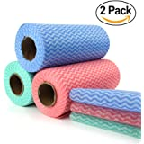 Disposable Cleaning Towel (2 roll of 100pcs) Multipurpose Non Woven Fabric OTP Nonwovens Non-woven Kitchen Disposable Cleaning Nonstick Wiping Rag House Cleaning Cloth Duster Dishcloth Washcloth Towel