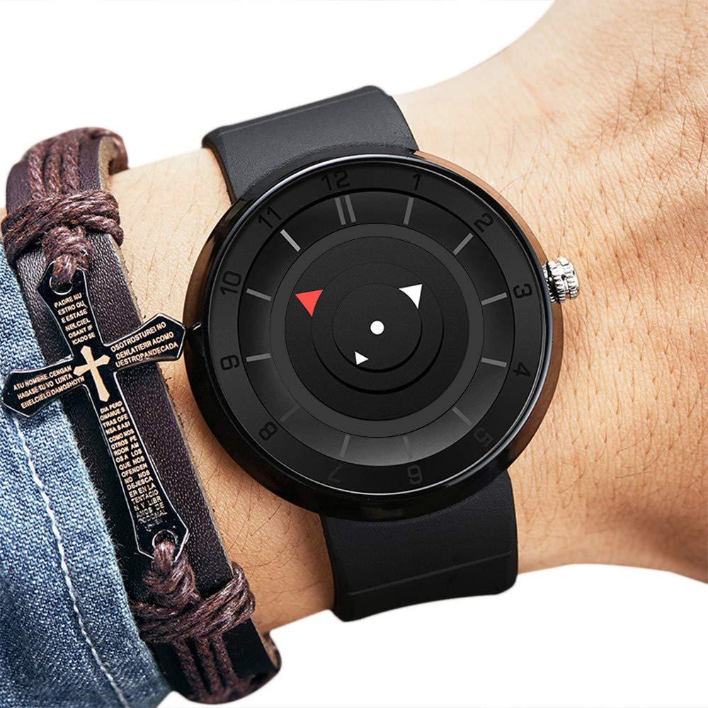 78fc811eb709 CFGem Relojes Hombre Puntero Impermeable de Cuarzo con Banda de Reloj de  Caucho de Silicona Relojes de Hombre PRM-3508 Negro Reloj Hombre   Amazon.es  ...