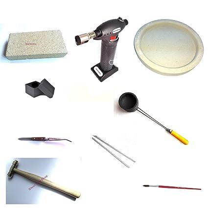 SilverToolShop® Kit de soldadura con butano linterna, carbón crisol, flujo plato, ladrillo