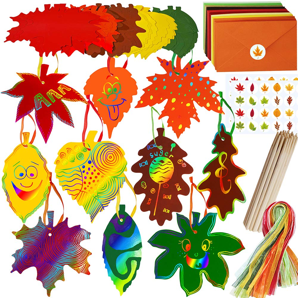 Supla 50 Sets Colorful Magic Color Scratch Fall Leaves Fall Craft Supplies Scratch Ornaments Art Paper in Assorted Maple Oak Leaves Cutouts for Kids Fall Autumn Halloween Thanksgiving Craft
