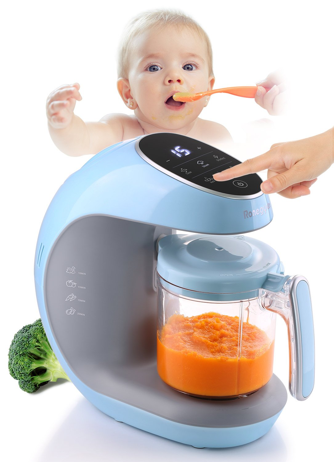 Ronegye Baby Food Cooker, Steamer and Blender with Smart Touch Panel for Easier to Operate, Blue