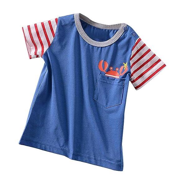 Lonshell Camisetas Niños Niñas Bebés Dibujos Animados Aeronave Rayas Cangrejo Camisetas Mangas Cortas Verano de Moda