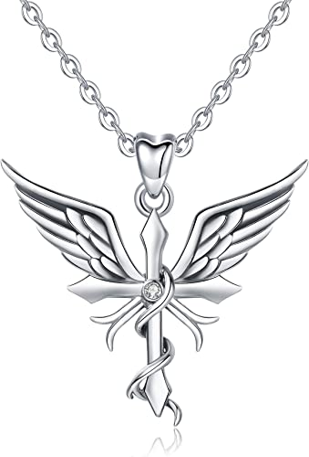 Caduceus Heart Shaped Pendant Necklace Women Accessories Jewelry Free Shipping
