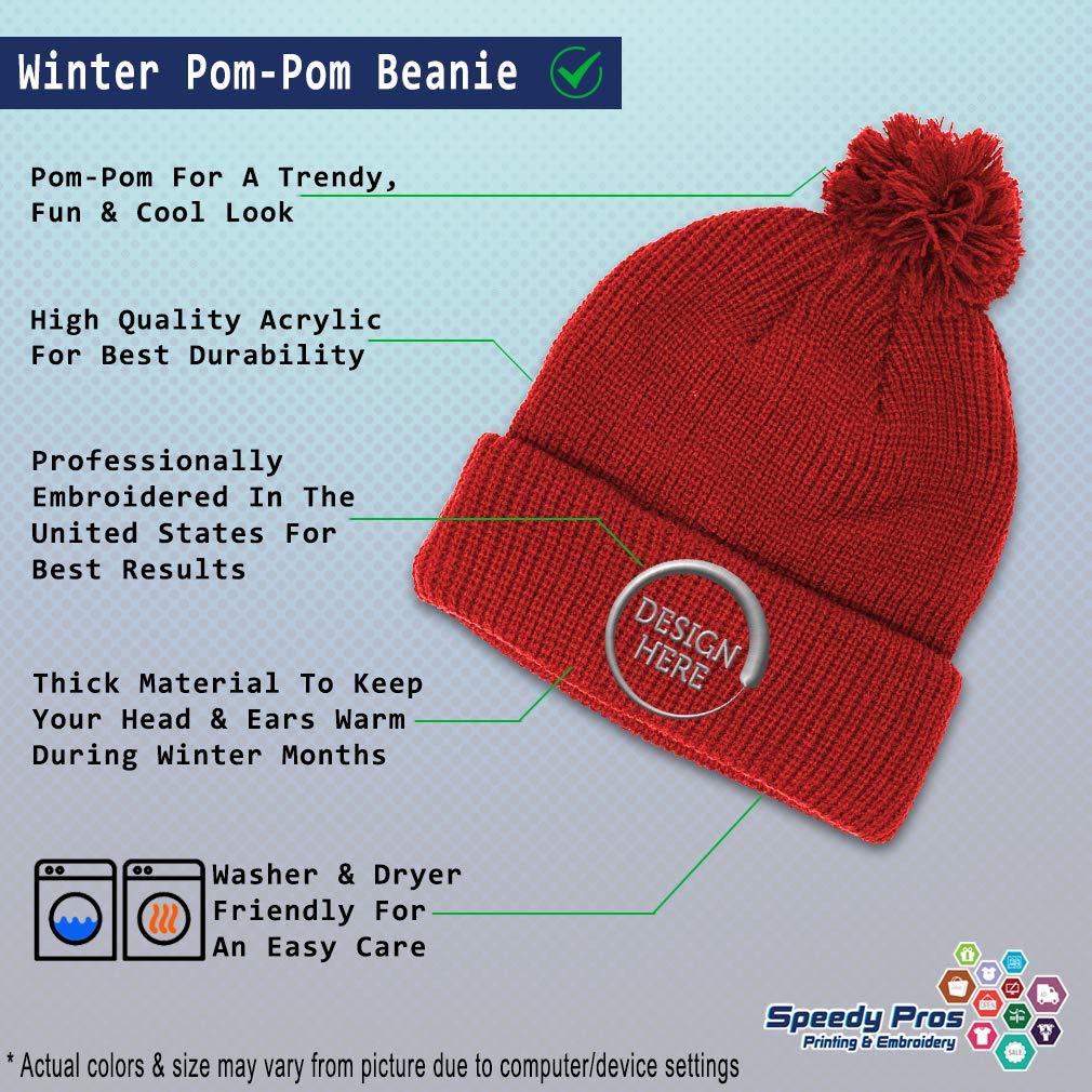 Custom Pom Pom Beanie Groom Embroidery Skull Cap Winter Hat for Men /& Women