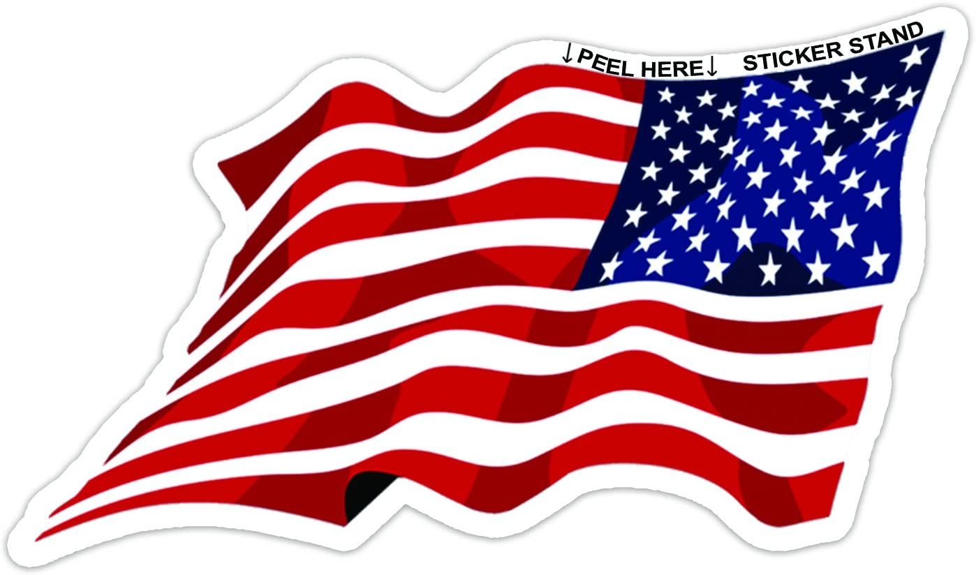 Waving American Flag Sticker Sticker Stand
