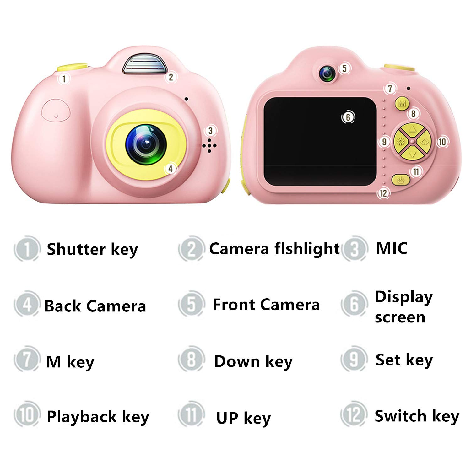 ESROVER Kids Digital Camera,2.0 Inch Screen 8MP Dual Shockproof Cameras Toys with Silicone Soft Cover Best Gifts Mini Selfie Camcorder for 4-8 Year Old Girls Boys Children by ESROVER (Image #2)