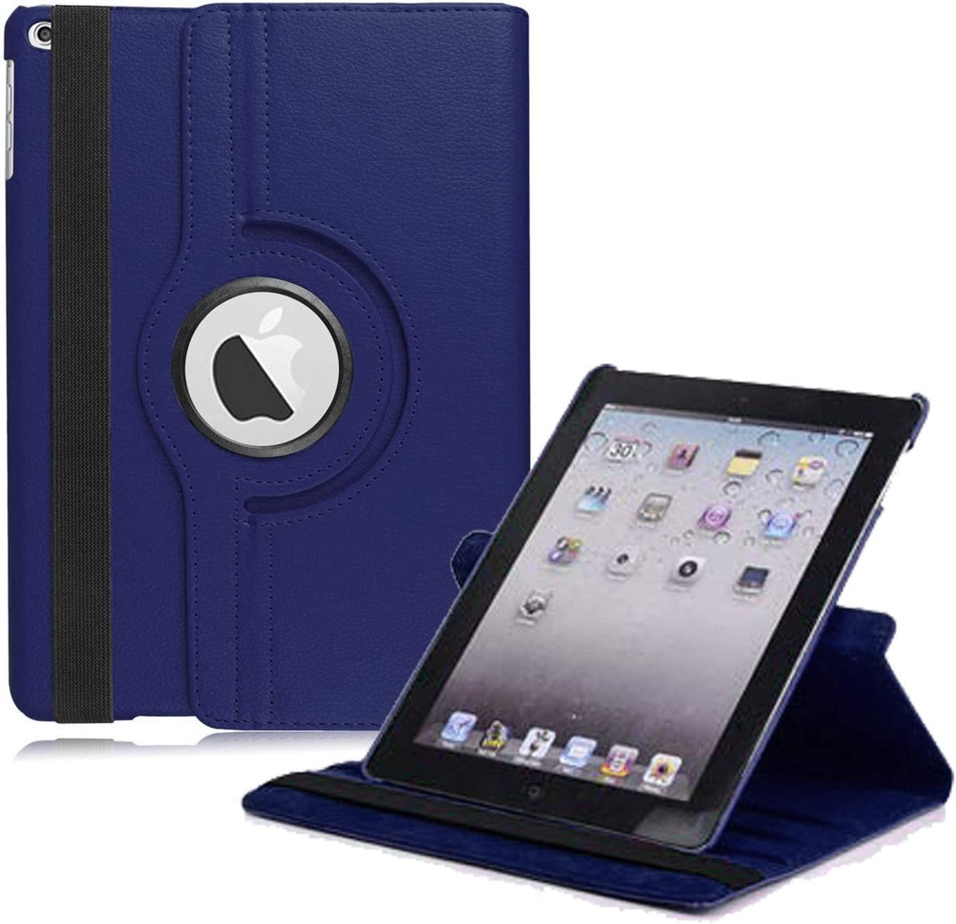 "New iPad 2017 9.7"" / iPad Air 2 Leather Case,360 Degree Rotating Stand Smart Cover with Auto Sleep Wake for Apple iPad Air or New iPad 9.7 Inch 2017 Tablet (Navy Blue)"