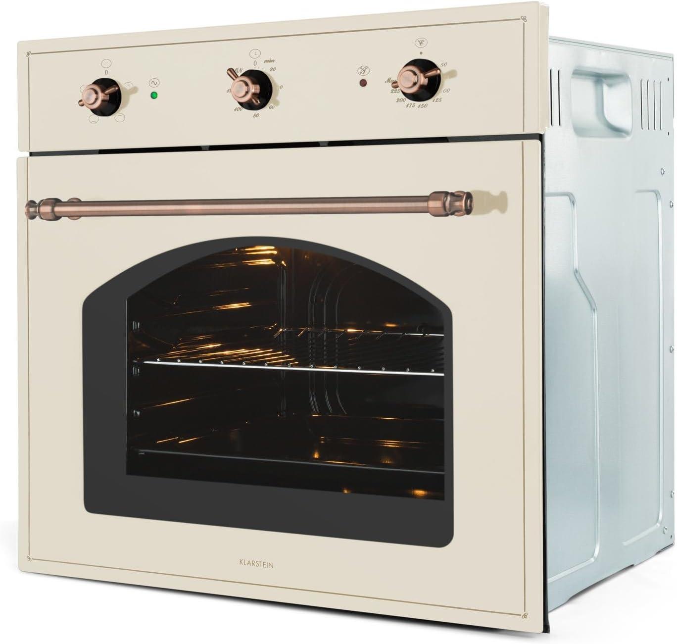 KLARSTEIN Vilhelmine Four encastrable Blanc 55L, Classe /énerg/étique A, Look Old School, jusqu/à 250/°C, minuterie r/églable jusqu/à 120min