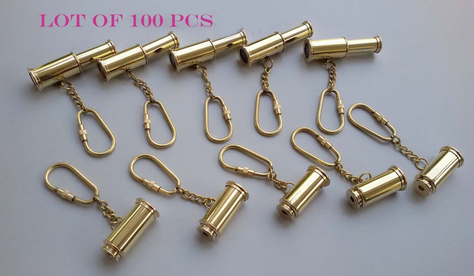 Shaheera Nautical Nautical Brass Telescope Key Chain Antique Handmade Key Ring Lot of 100 Pcs Gift A by shaheera.nautical (Image #2)