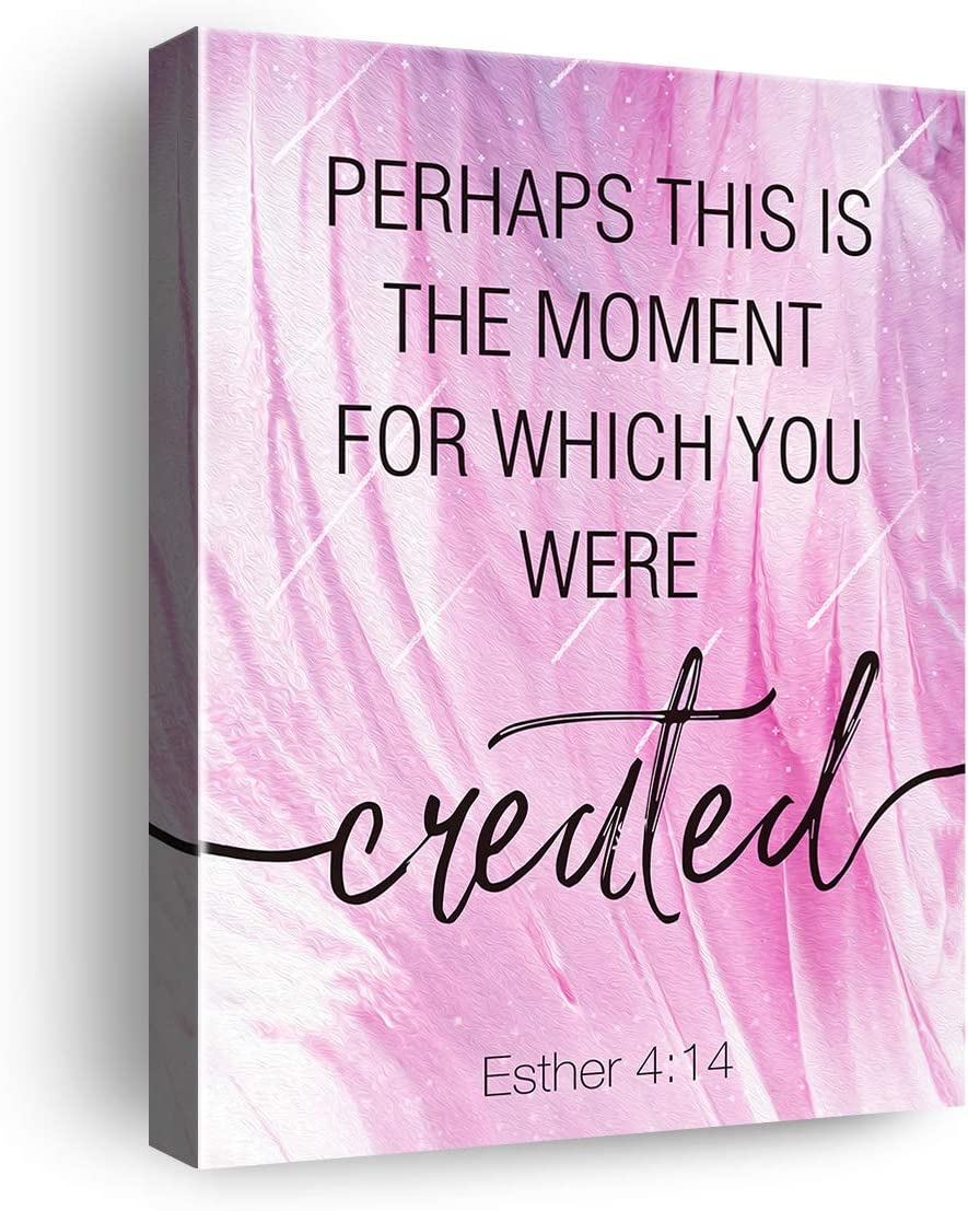 Bible Quote Poster Scripture Christian Sign Canvas Wall Art & Tabletop Decoration - Easel & Hanging Hook 8x10Inch - Bible Verse Quote Canvas Prints Gifts for Home Girls Room Baby Girl Nursery Decor