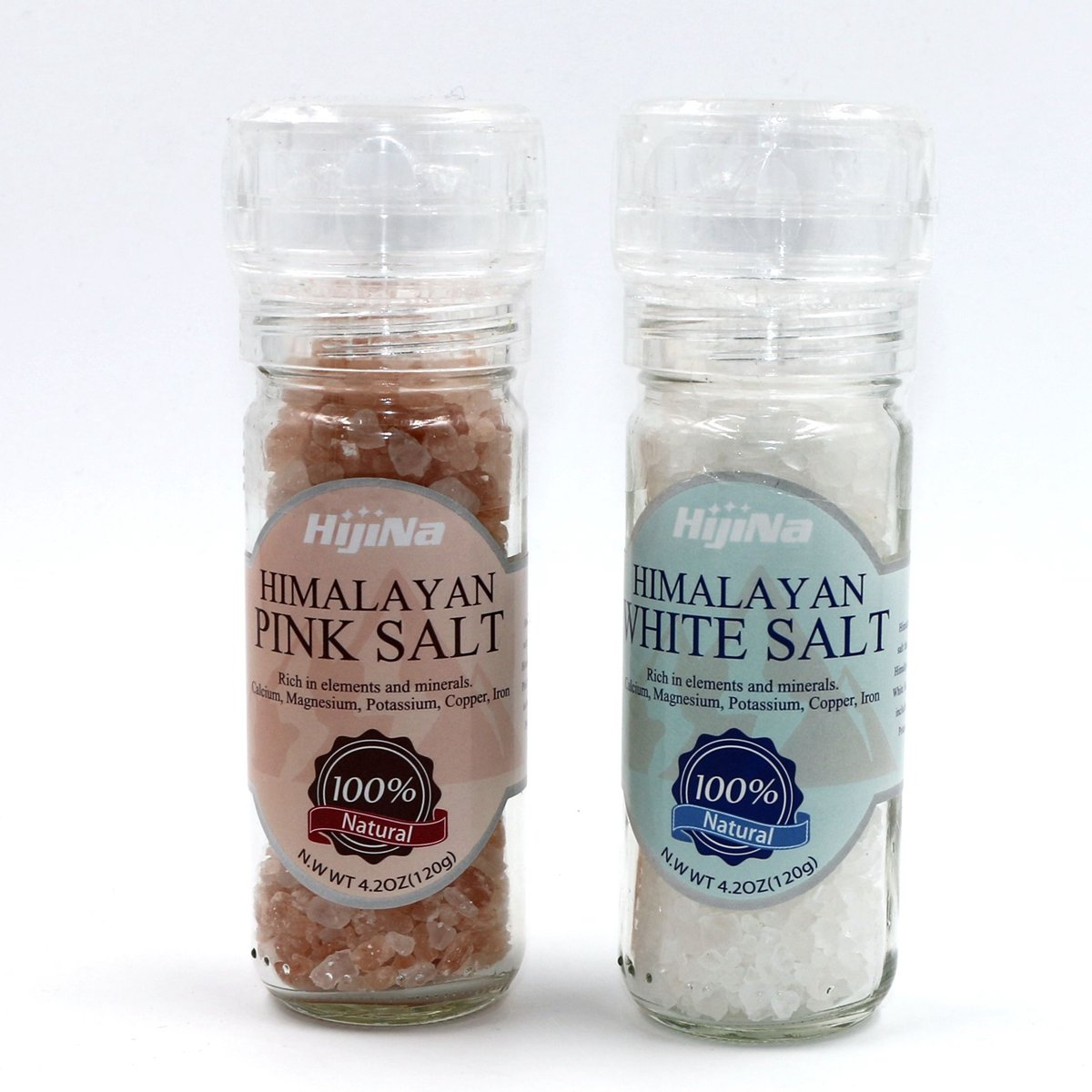 HijiNa Himalayan Pink and White Salt Crystals with Built in Grinder 2 Pack