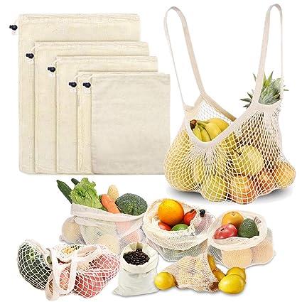 MAIKEHIGH Bolsas Reutilizables Fruta y Verdura Algodón Malla, 6 Pieza Bolsas de Compras Comida Grande Lavable (XL, L, M, S, Bolso Mano, Saco Bolsillo)