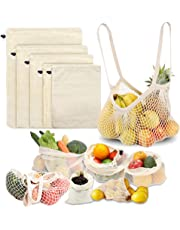 MAIKEHIGH Reusable Bags for Fruit and Vegetables – Natural Organic Cotton Mesh Produce Shopping Bag Washable Eco Friendly Set of 6 (XL,L,M,S, Grocery Tote, Carry Pouch)