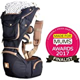 Baby Carrier with Hip Seat Sling by Kiddihug - Comfortable Ergonomic with Soft-Padded Waist Support - Award Winning New Style Designer Quality Performance 6 in 1 Baby Carrier (Black)