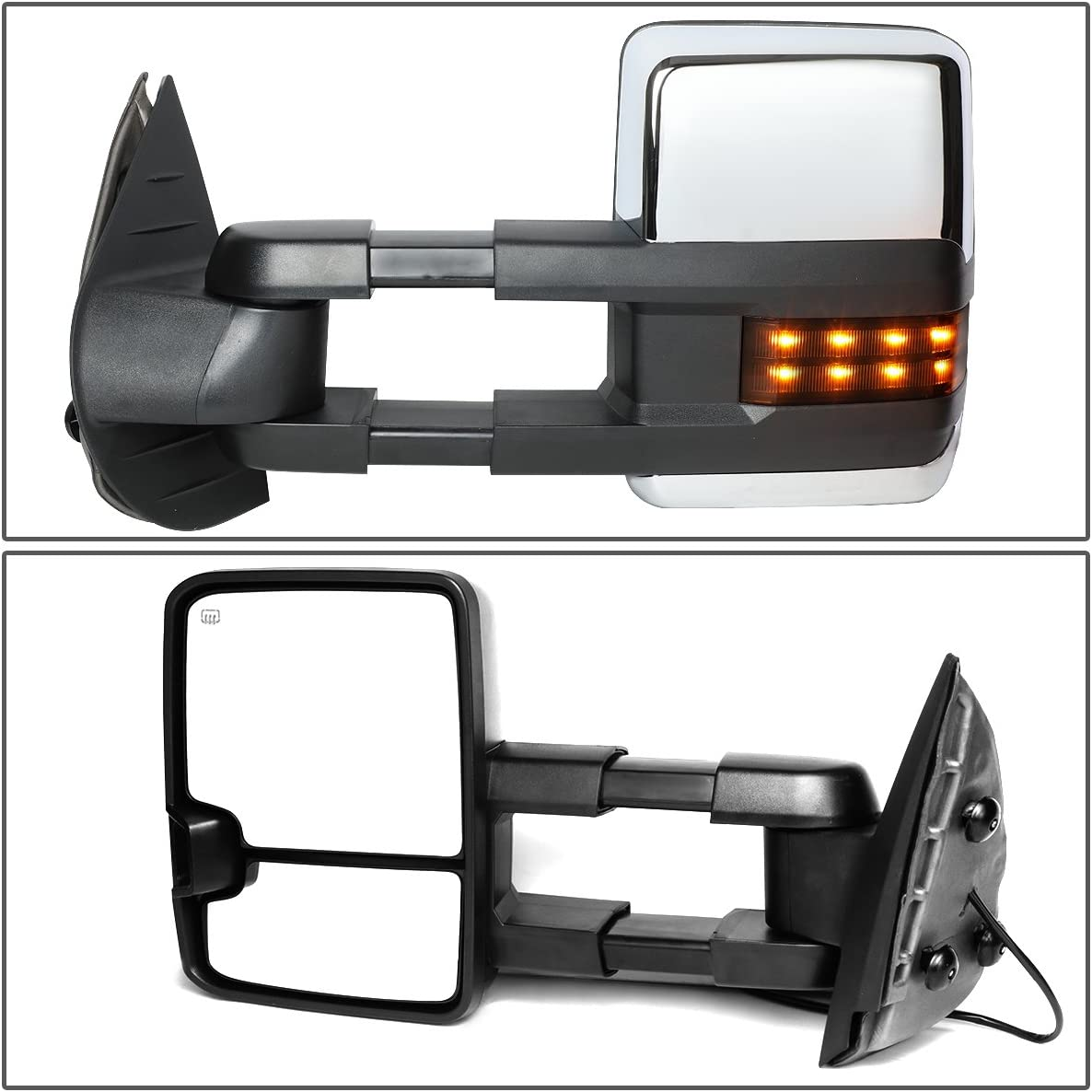 DNA Motoring TWM-028-T888-BK-SM-L Powered Tow Mirror+Heat+LED Smoked Left//Driver For 07-13 Tahoe//Yukon