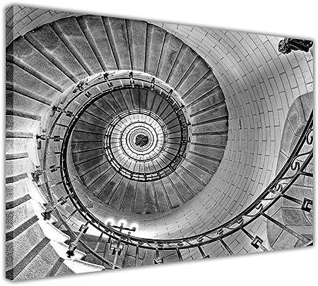 Paisaje Escalera de Caracol en Framed Canvas Wall Art Prints Home Deco imágenes, blanco y negro, 05- A1 - 34