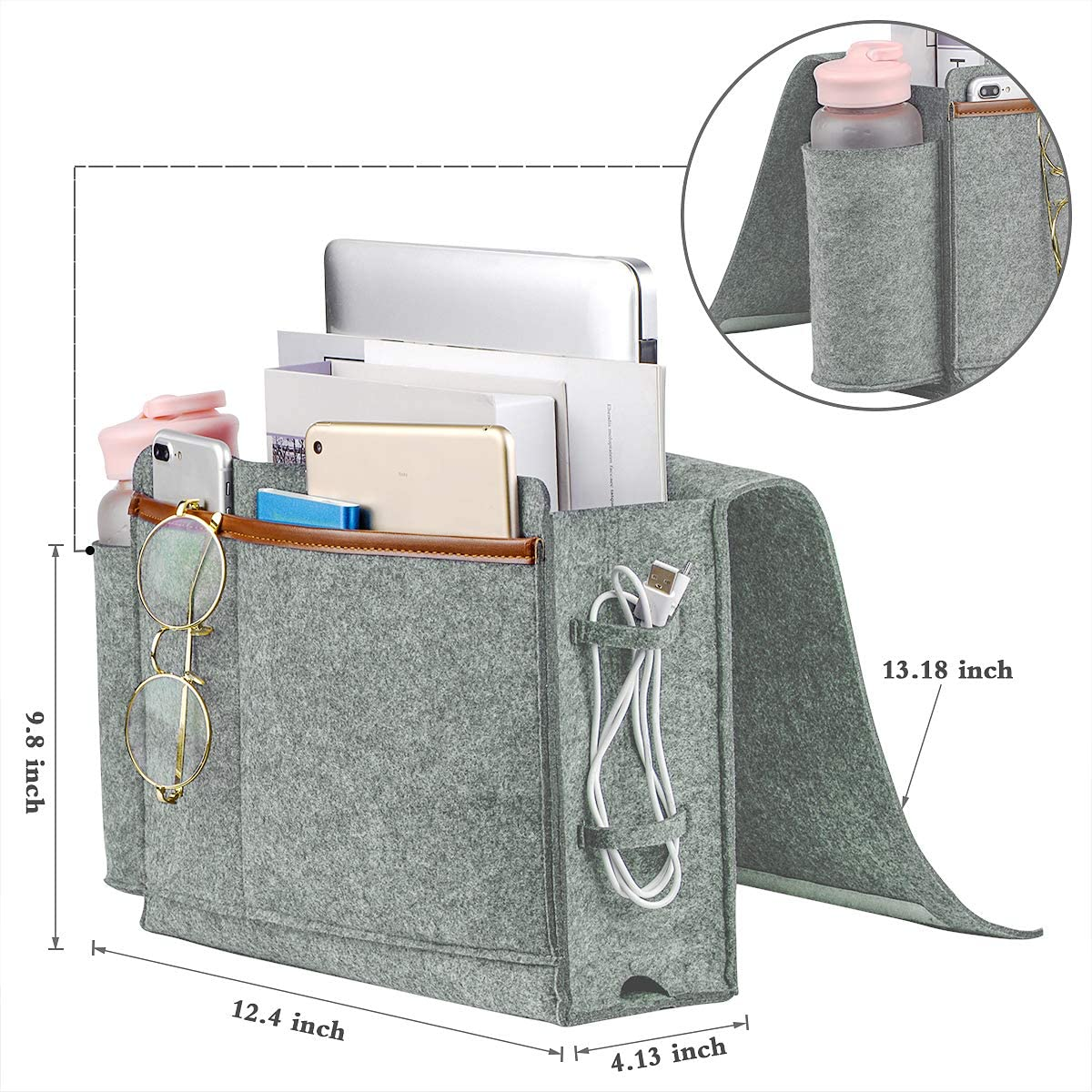 Bedside Caddy, Thick Sofa Storage Organizer, Table Cabinet Hanging Storage Organizer, Holder Bag for Laptop Book Phone Charger Bottle and other, Ideal for Dorm, Kid Bunk Bed, Sofa, Hospital Bed(Gray)