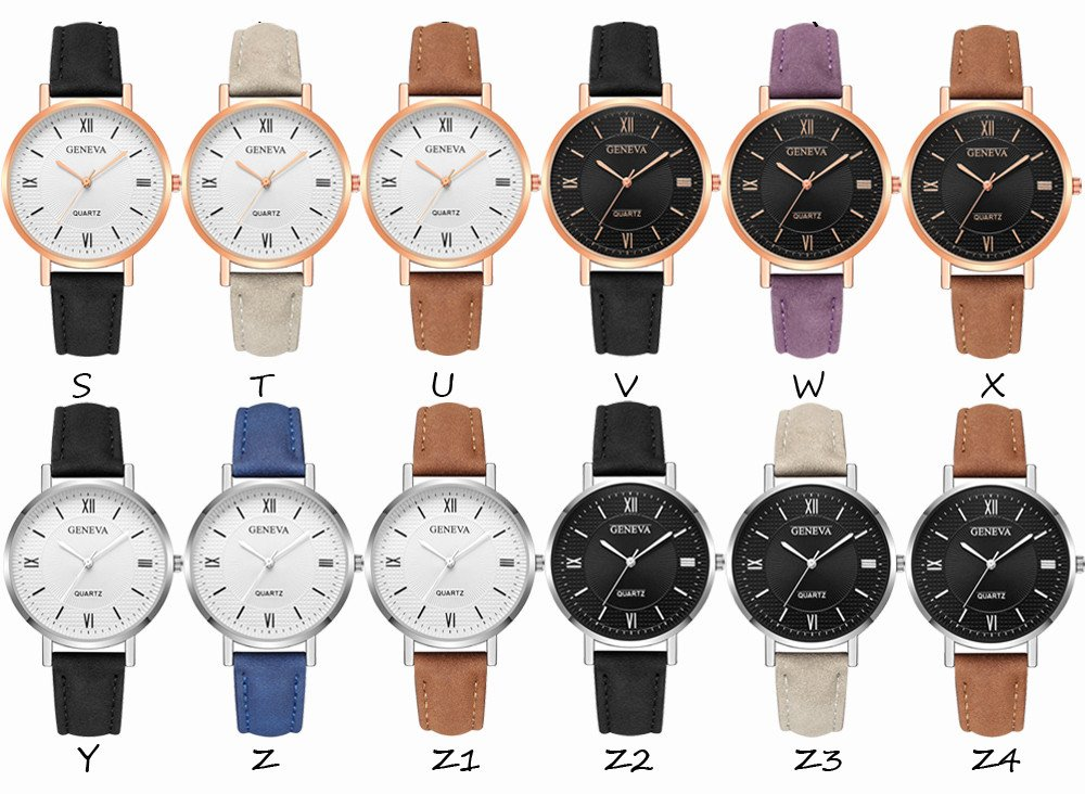 Womens Watches On Sale, VANSOON Ladies Casual Geneva Crystal Stainless Steel Leather Quartz Analog Wrist Watches Analog Teen Girls Dress Simple Luxury Bracelet Watches Gift Clearance by VANSOON Watches (Image #2)