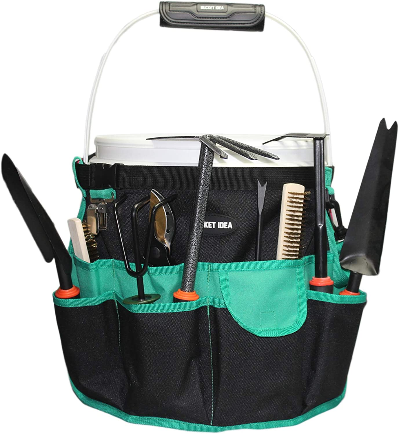 Bucket Idea Bucket Tool Organizer for Garden Tools Fit 3.5 to 5 Gallon Bucket (Green)