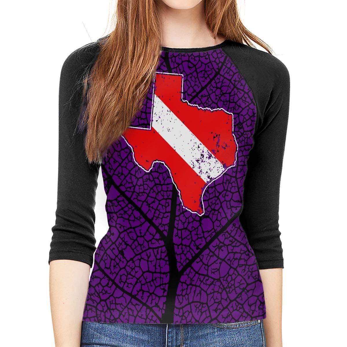 Vintage Texas Scuba Dive Flag Map Diving Diver Adult Womens Long Sleeve T Shirts
