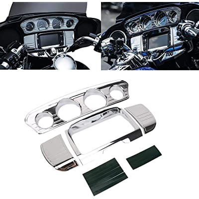 buyinhouse Motorcycle Accessory Tri-Line Gauge Stereo Trim Fit for 2014-2020 Harley Davidson Touring,Electra Glide,Street Glide,Ultra Limited & Tri-Glide Ultra, Chrome: Automotive