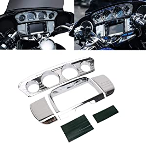 buyinhouse Motorcycle Accessory Tri-Line Gauge Stereo Trim Fit for 2014-2019 Harley Davidson Touring,Electra Glide,Street Glide,Ultra Limited & Tri-Glide Ultra, Chrome