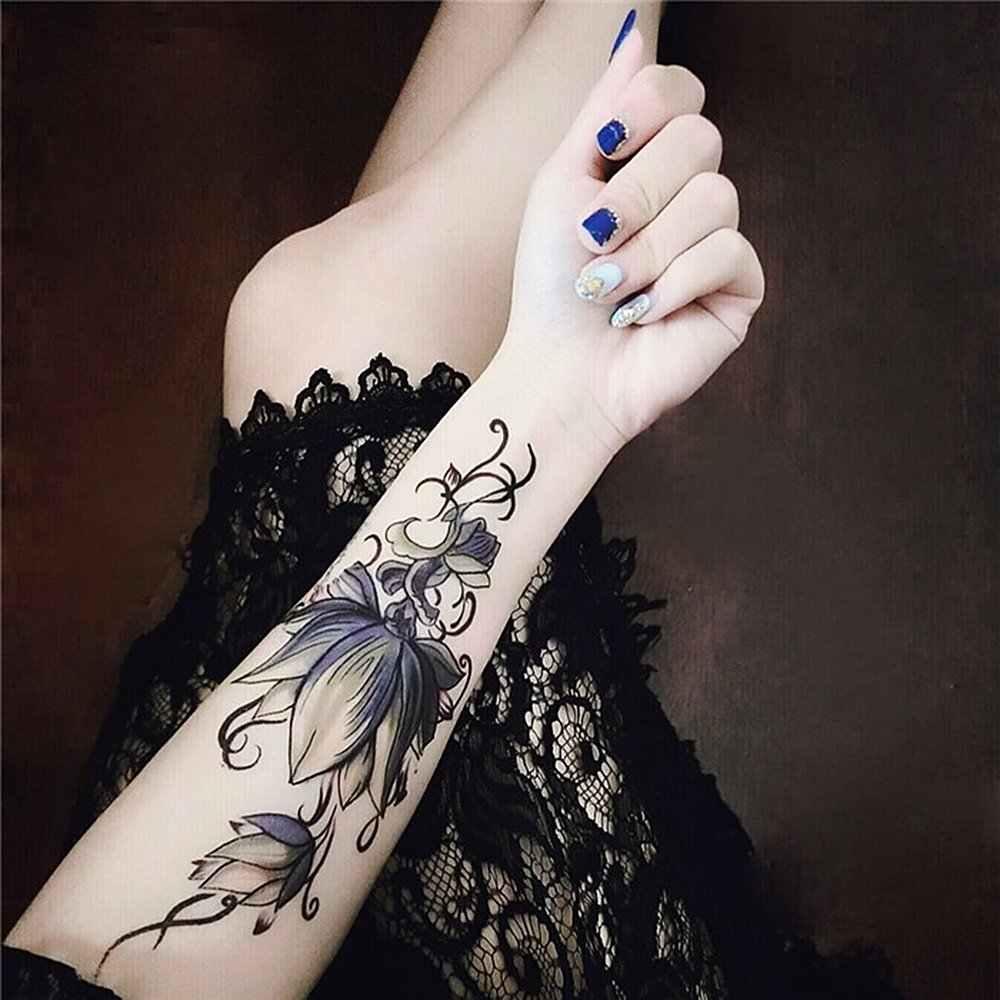 5 hojas falsos cuerpo tatuaje adhesivo temporal impermeable brazo ...