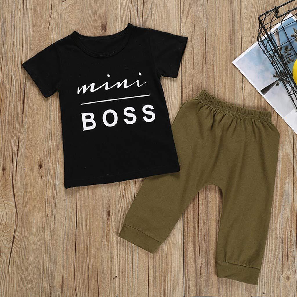 2 Piece Little Boys Pajamas Sets Mini Boss Letter Print 100/% Cotton Clothes Toddler Kids Sleepwear Womola Boys Pajamas