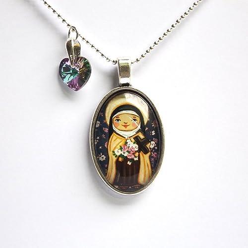 Amazon com: Saint Therese necklace Saint necklace Saint pendant