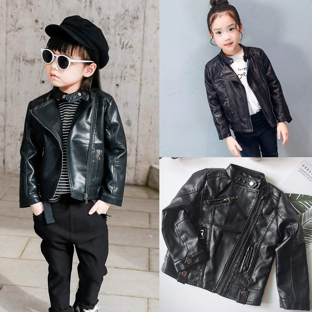 DFVVR Autumn Winter Girl Boy Kids Baby Outerwear Leather Coat Cool Jacket Clothes Autumn Warm Baby Winter Clothes 12-18 Months