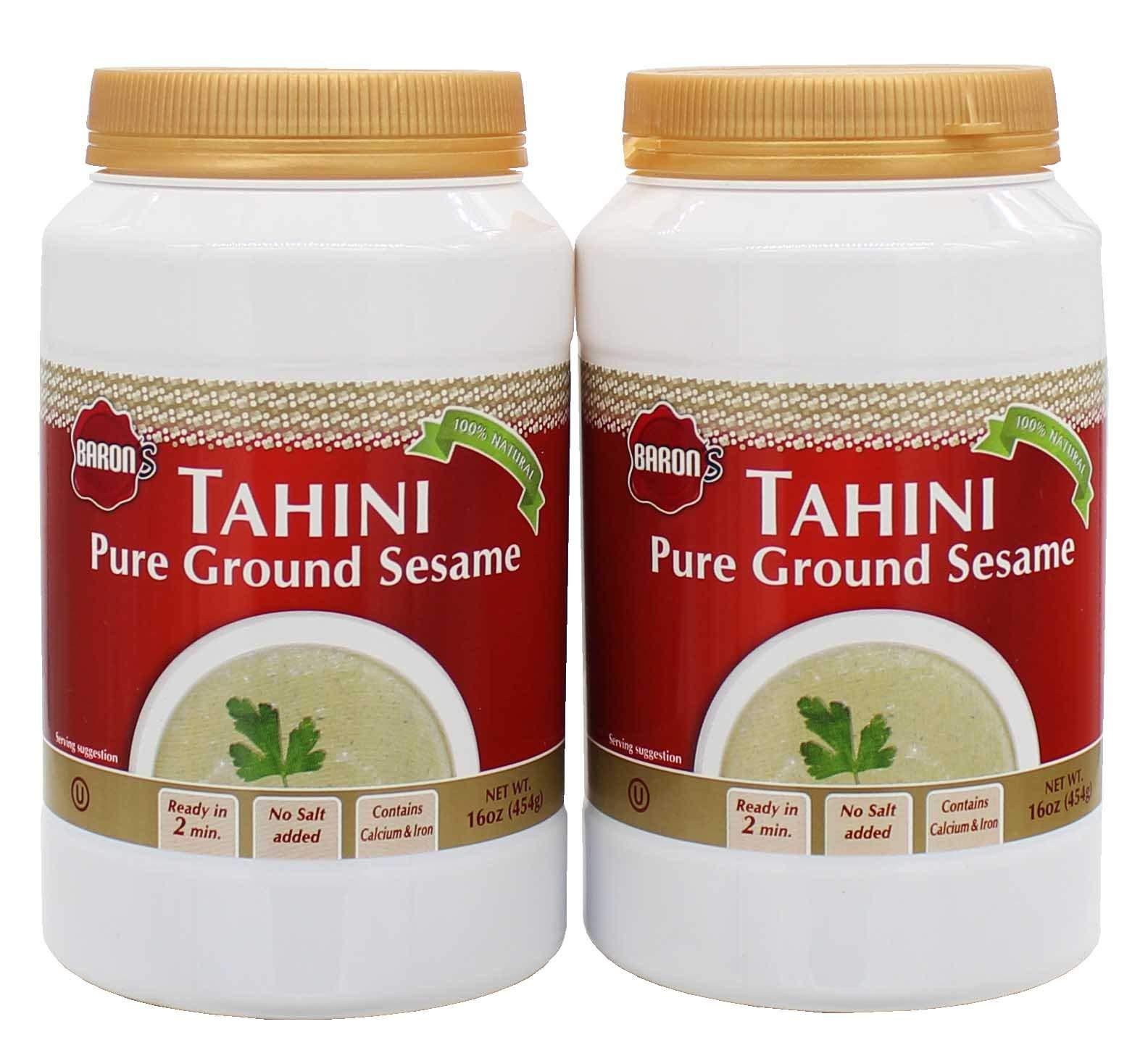 Baron's Kosher 100% Pure Ground Sesame Tahini 16-ounce Jars (Pack of 2). by Baron's
