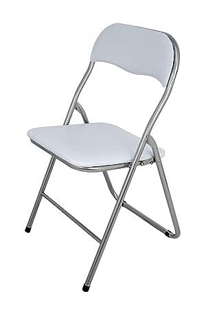 La Silla Española Sevilla - Silla plegable en aluminio con asiento y respaldo alcochados en PVC, Blanco, 78x43,5x46 cm: Amazon.es: Hogar