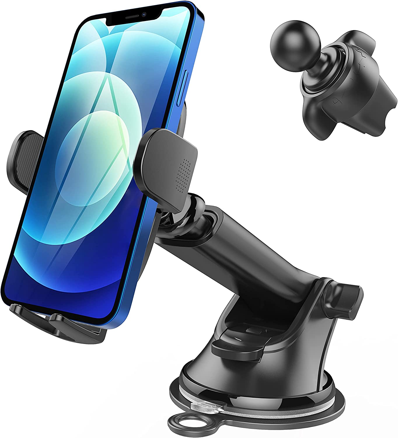 Ultra Sticky Car Phone Holder Mount, Long Arm Suction Cup Cell Phone Holder for Car Dashboard Windshield Air Vent Handsfree Phone Car Mount Fit 4-6.8 Inch Cell Phones, Thick Case & Big Phones Friendly