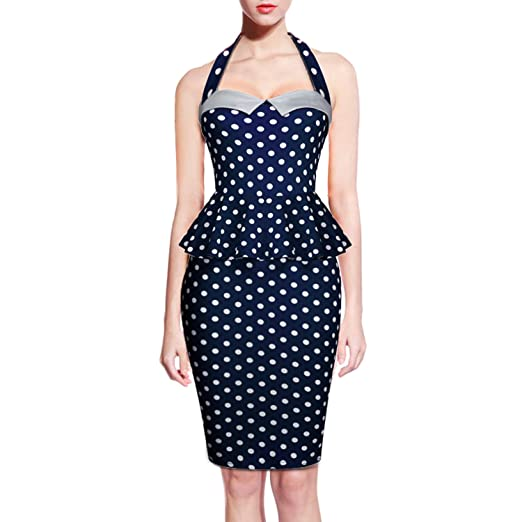 eee65277237 Pinup Fashion Women Vintage 1950s Rockabilly Bodycon Cocktail Party Pencil  Dress (Navy