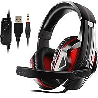 Diswoe Auriculares estéreo para PS4, PC, Xbox One, cancelación de Ruido, Auriculares con micrófono