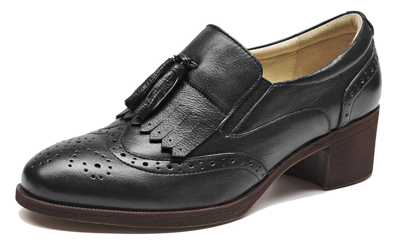 SimpleC Damen Bequem Klassiker Perforierte Quaste Brogue Bequem Damen Business Runder Zeh Leder Wingtip Mid Heel Kurzschaft Oxfords Schuhe 98ab35