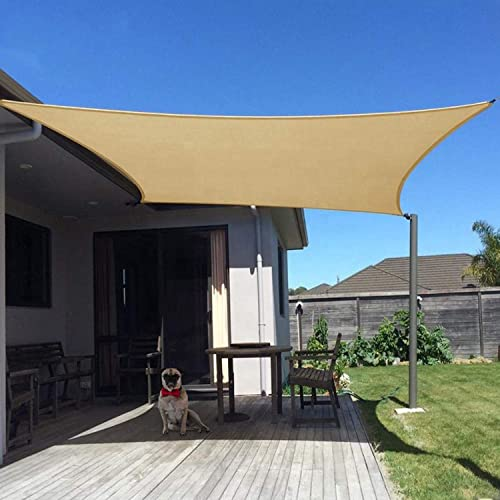HANDMEN Sun Shade Sail-Sand Color Rectangle Shade Cloth 20'x24' UV Block Patio Canopy Water Air Permeable Canopy Sail-Outdoor Sun Shade