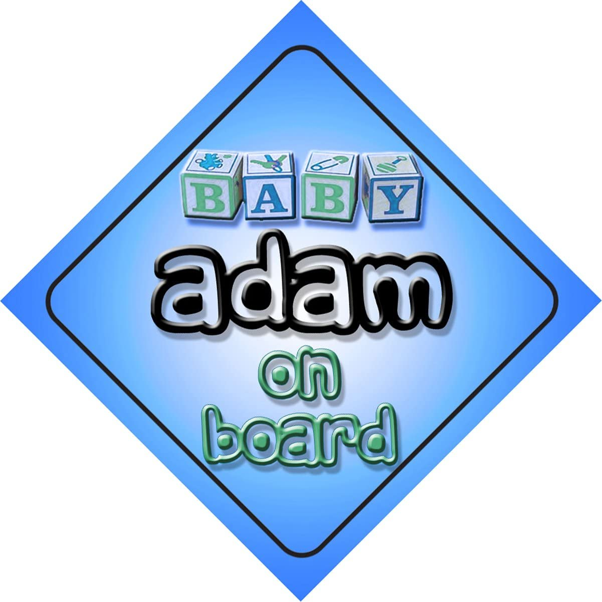 Adam b/éb/é gar/çon sur planche nouveaut/é voiture Panneau cadeau//Cadeau pour nouveau//Nouveau-N/é B/éb/é Enfant