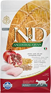 Farmina Natural And Delicious Chicken And Pomegranate Ancestral Low-Grain Formula Dry Cat Food, 3.3 Pound Bag
