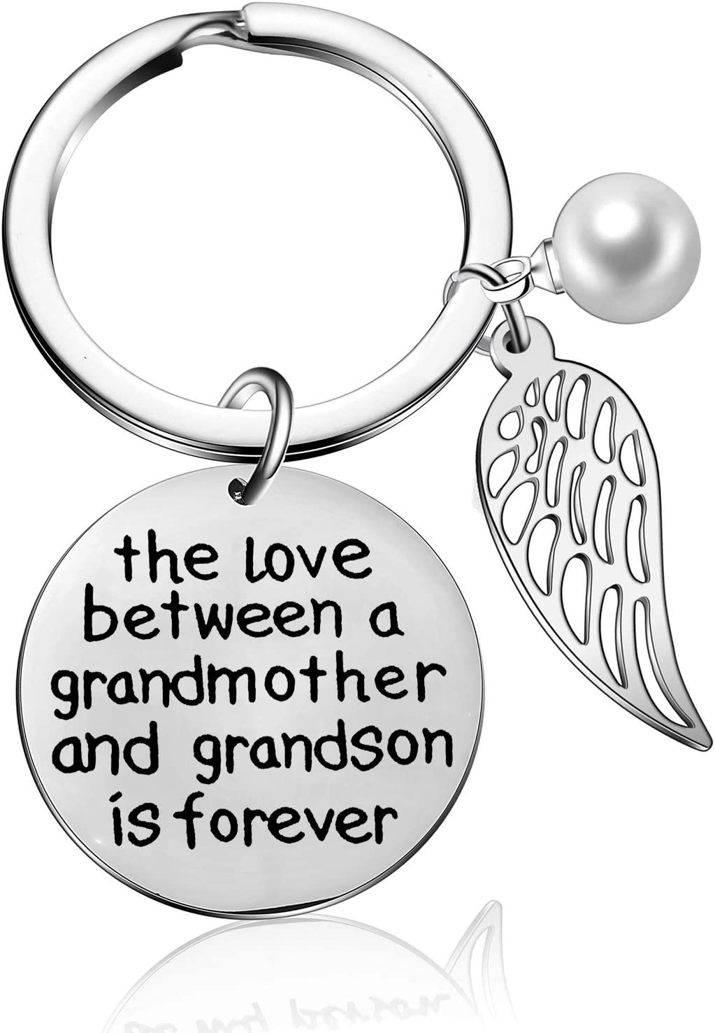 The Love Between Grandmother and Granddaughter Grandson is Forever Keyring Wing Keychain Gift from Granddaughter Grandson Family Mother's Day Birthday Jewelry (Grandmother and Grandson)