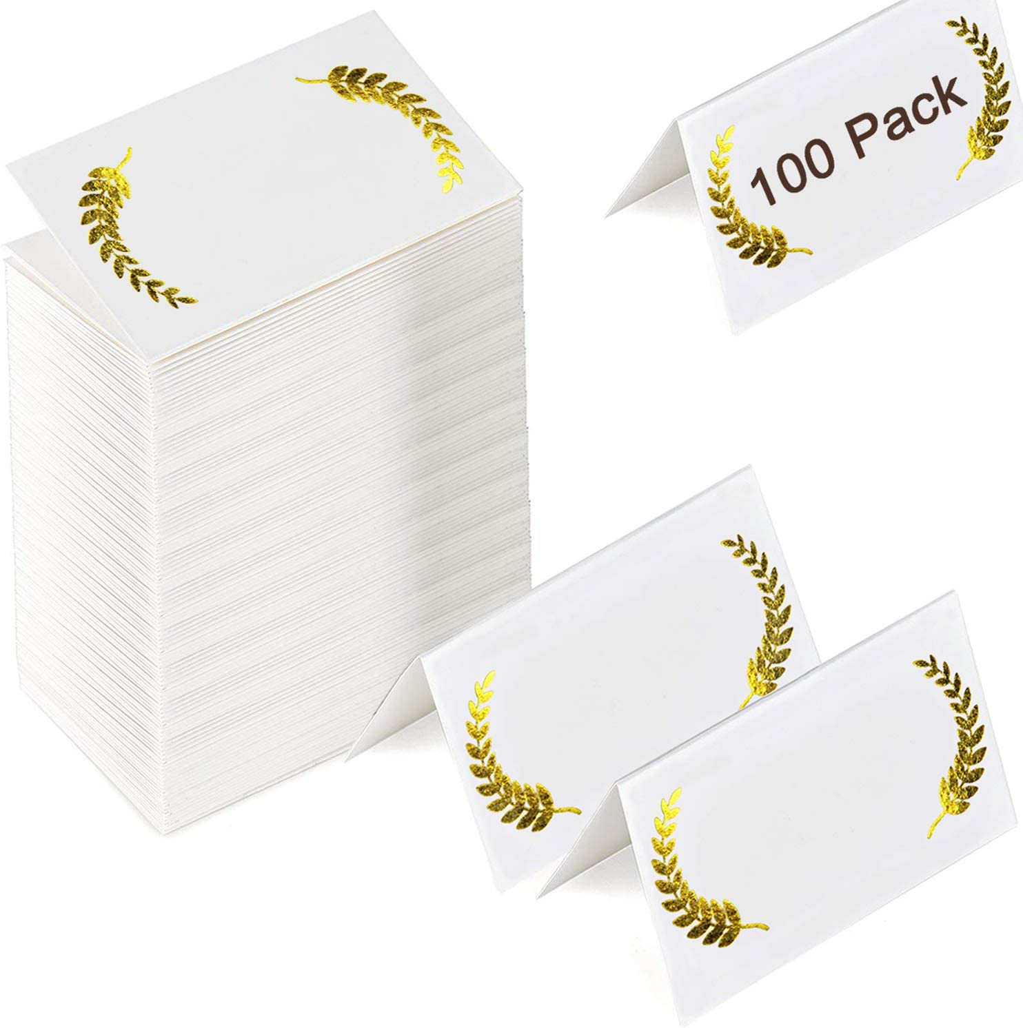 Pack of 100 Place Cards with Gold Laurel Leaves-Perfect for Weddings, Banquets, Events,Blank Table Tent Cards Table Name Tags Table Card Seating Cards Buffet Table Cards Events 2 x 3.5 Inches