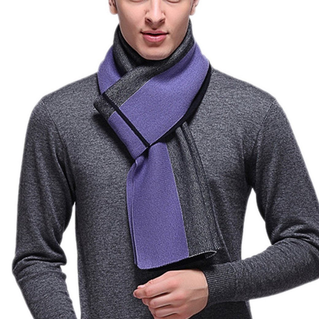 FEOYA Men's Vertical Stripe Long Scarf Winter Soft Warm Wool Shawl Wrap Purple
