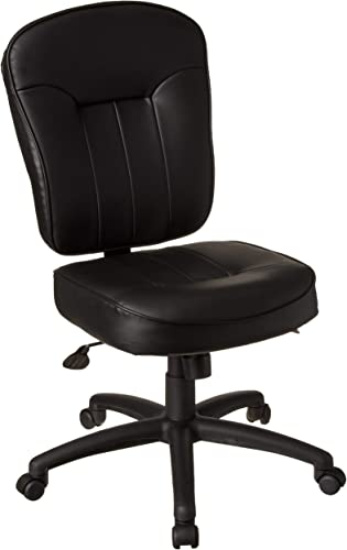 Boss Office Products Leather Adjustable Task Chair Without Arm