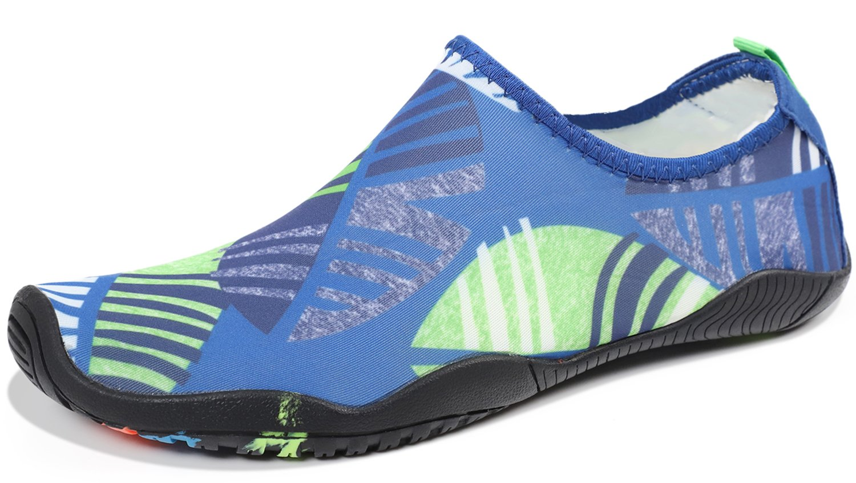 Heeta Water Sports Shoes for Women Men Quick Dry Aqua Socks Swim Barefoot Pool Beach Shoes for All Water Sport Leaf Blue 8.5 US Women / 7 US Men
